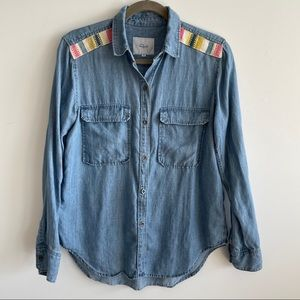 Rails Chambray Button Down with Colorful Patches